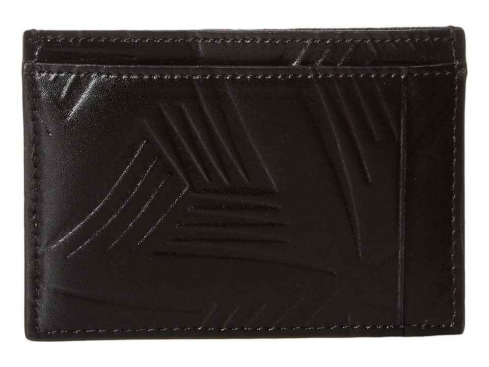 MARNI - Flower Embossed Leather Card Holder (Black) Wallet Handbags