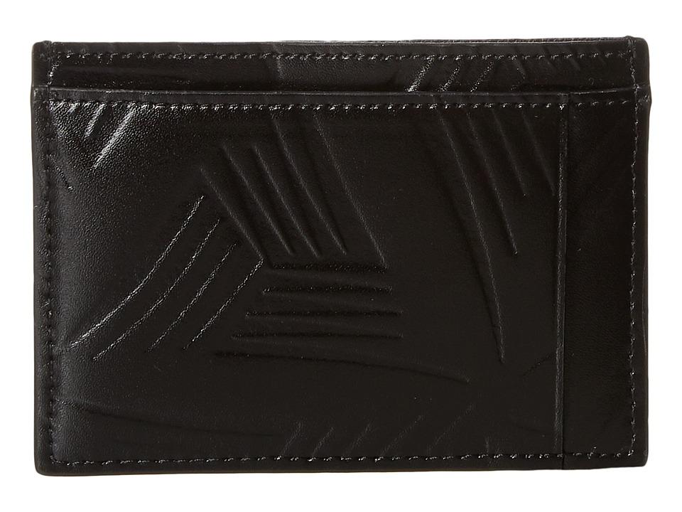 MARNI - Flower Embossed Leather Card Holder (Black) Wallet Handbags