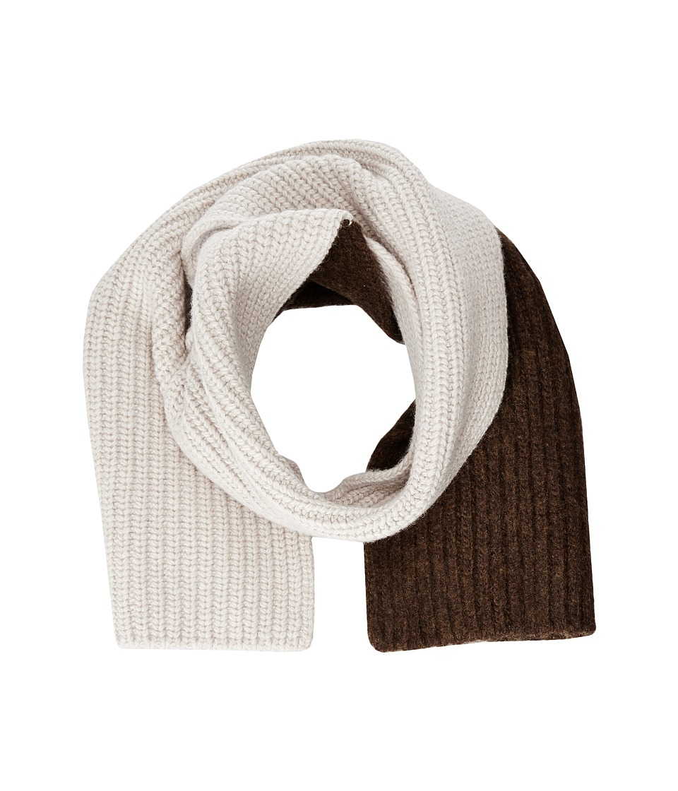 MARNI - Asymmetrical Color Detail Rib Scarf (Beige/Brown) Scarves