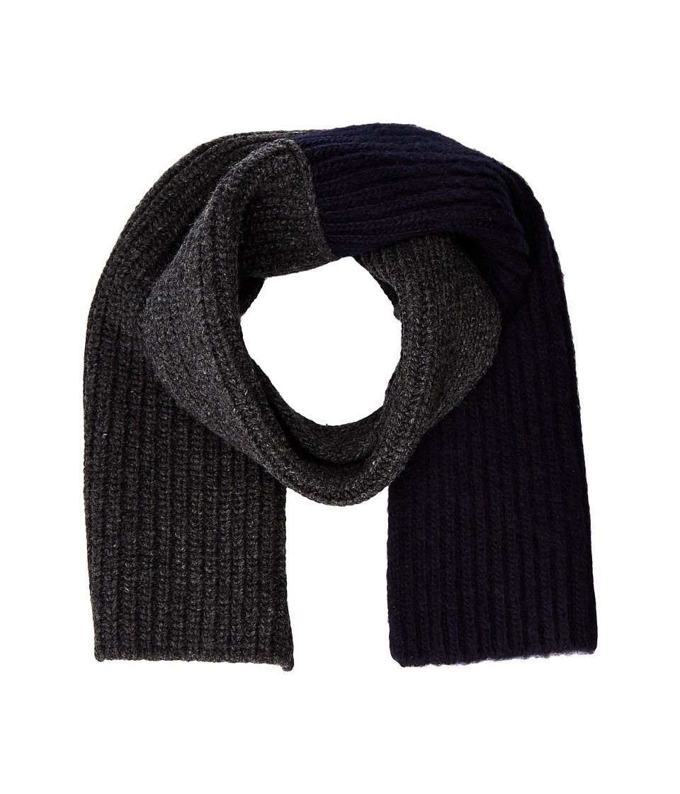 MARNI - Asymmetrical Color Detail Rib Scarf (Dark Grey/Blue Navy) Scarves