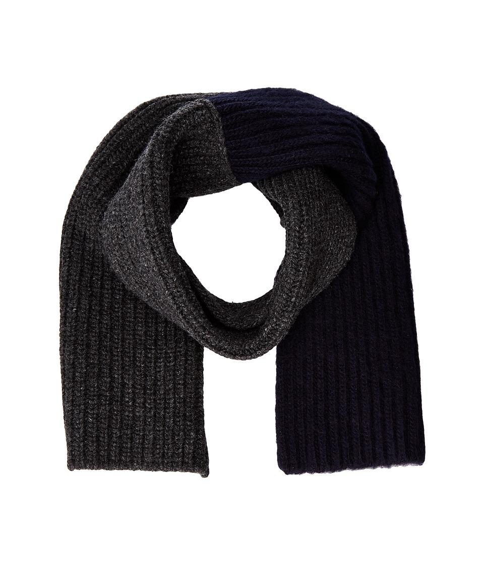 MARNI - Asymmetrical Color Detail Rib Scarf (Dark Grey/Blue Navy) Scarves