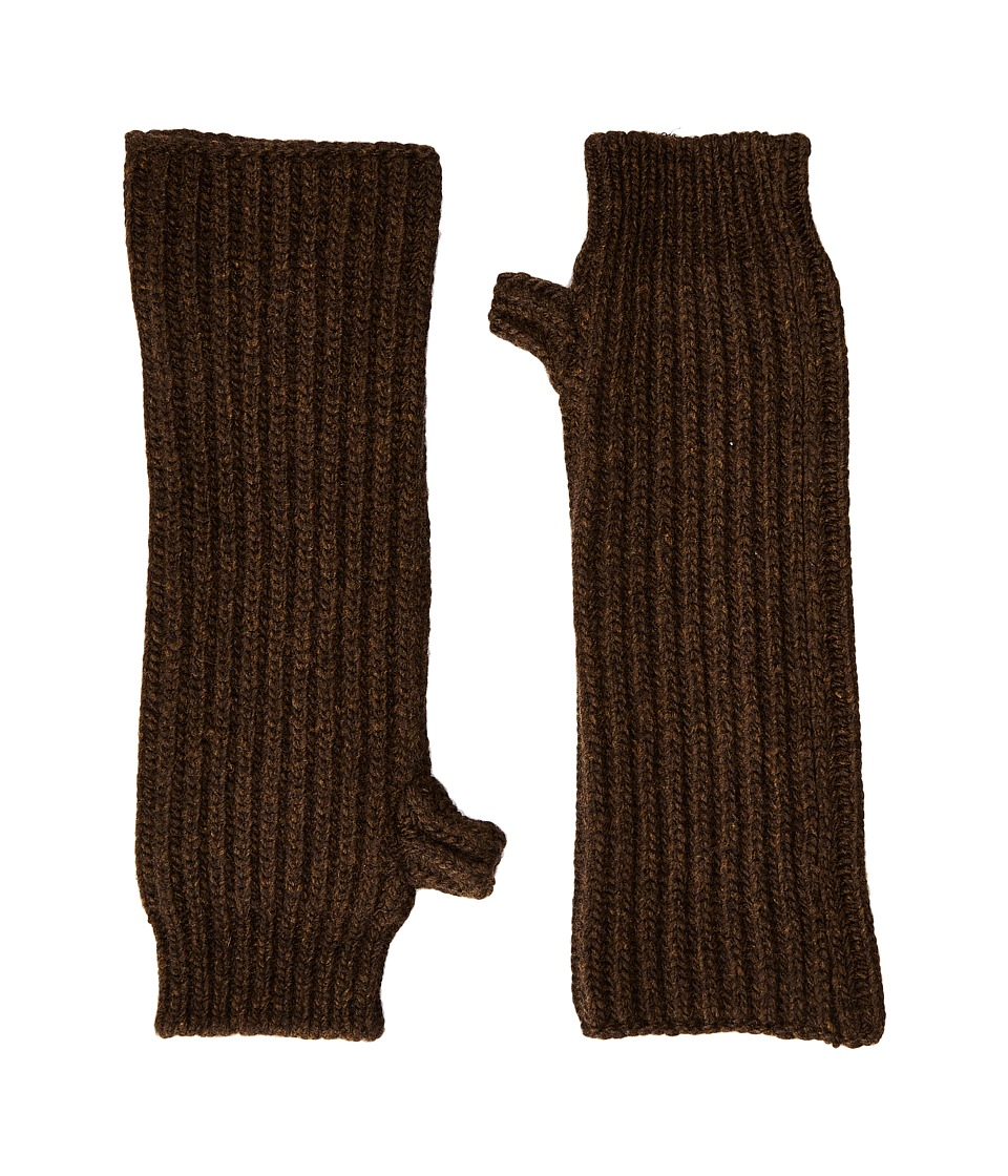 MARNI - Zip Detailed Wool English Rib Fingerless Mitten (Brown) Scarves