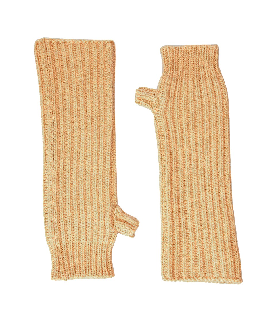 MARNI - Zip Detailed Wool English Rib Fingerless Mitten (Yellow) Scarves