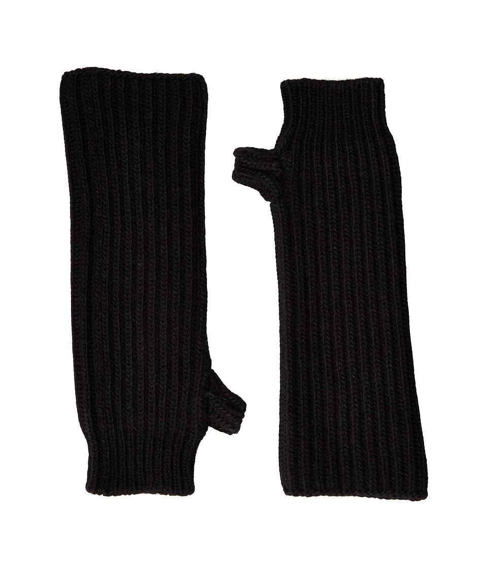 MARNI - Zip Detailed Wool English Rib Fingerless Mitten (Black) Scarves