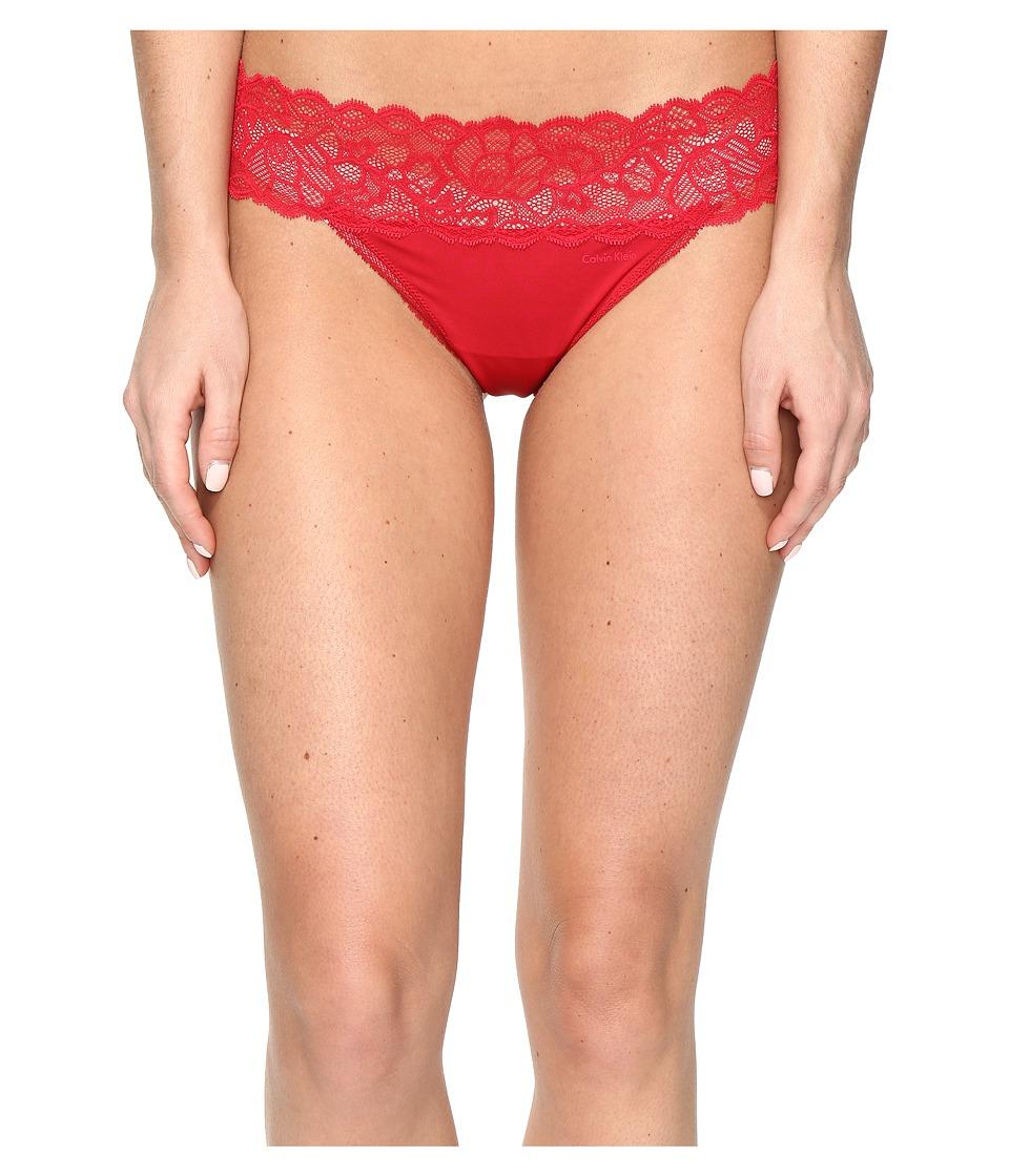 Calvin Klein Underwear - Seductive Comfort with Lace Thong (Regal Red) Women's Underwear