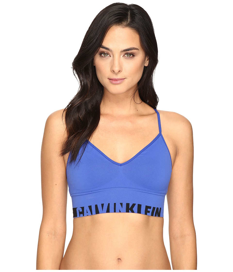 Calvin Klein Underwear - Logo Cotton Longline Bralette (Amplified Blue) Women's Bra