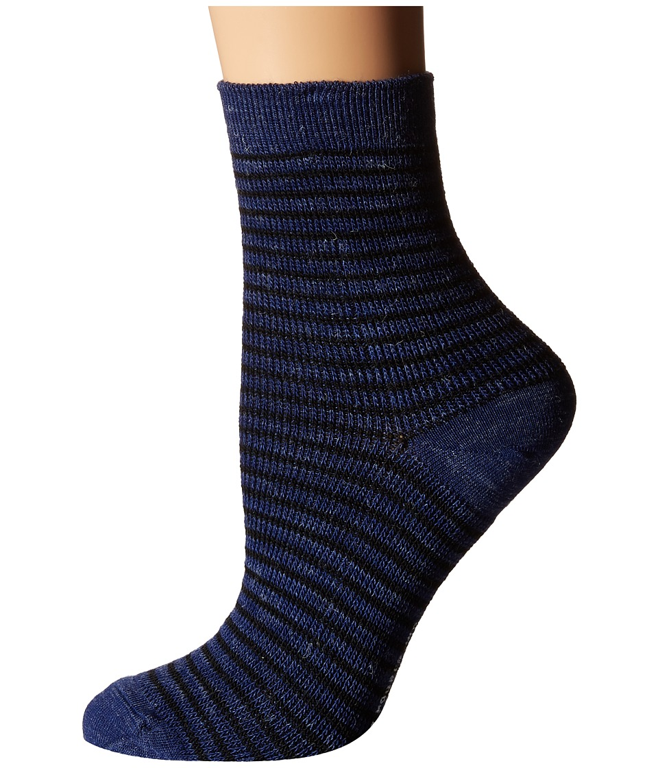 Richer Poorer - Skimmer Ankle Wool (Navy/Brown) Women's Crew Cut Socks Shoes