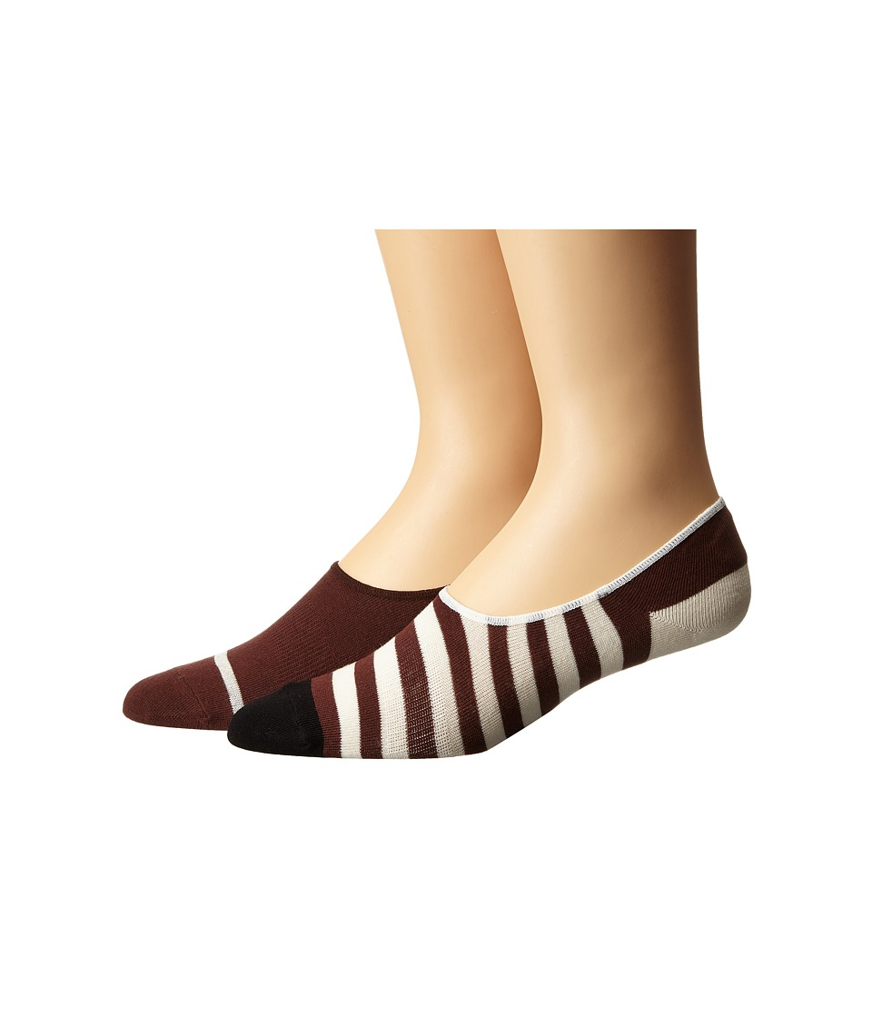 Richer Poorer - Theo No Show 2-Pack (Brown/White) Men's No Show Socks Shoes