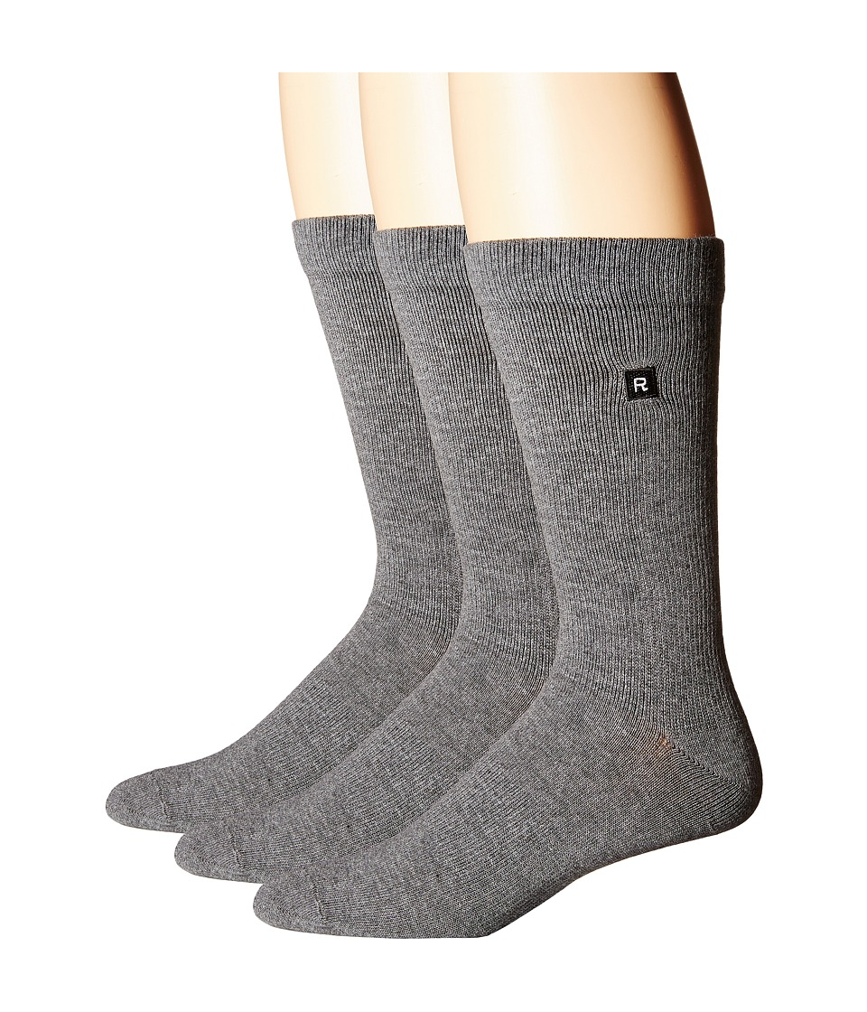 Richer Poorer - Base Basic 3-Pack Athletic (Charcoal) Men's Crew Cut Socks Shoes