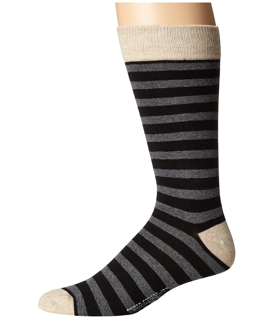Richer Poorer - Theo (Black/Charcoal) Men's Crew Cut Socks Shoes