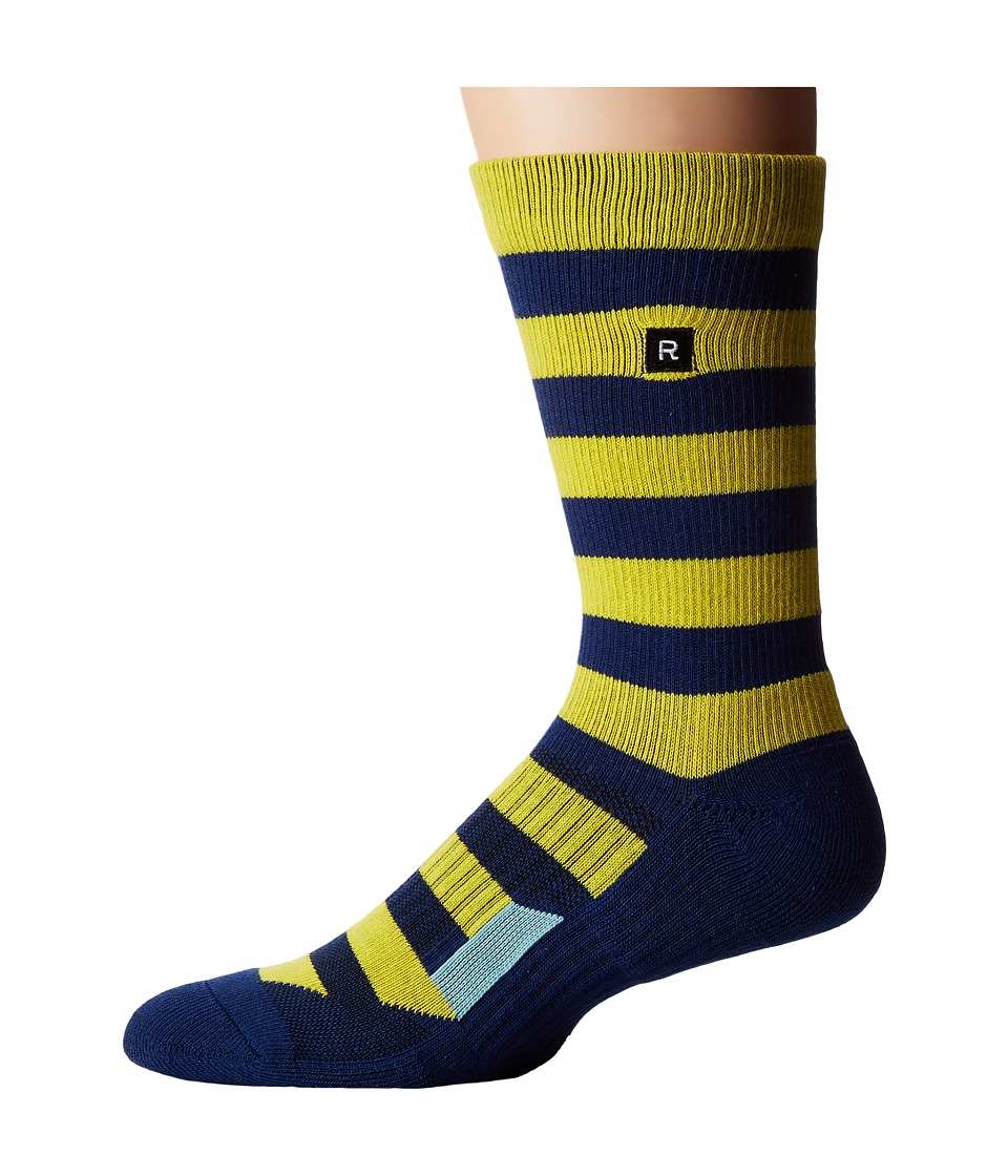 Richer Poorer - Walk On Athletic (Yellow/Navy) Men's Crew Cut Socks Shoes