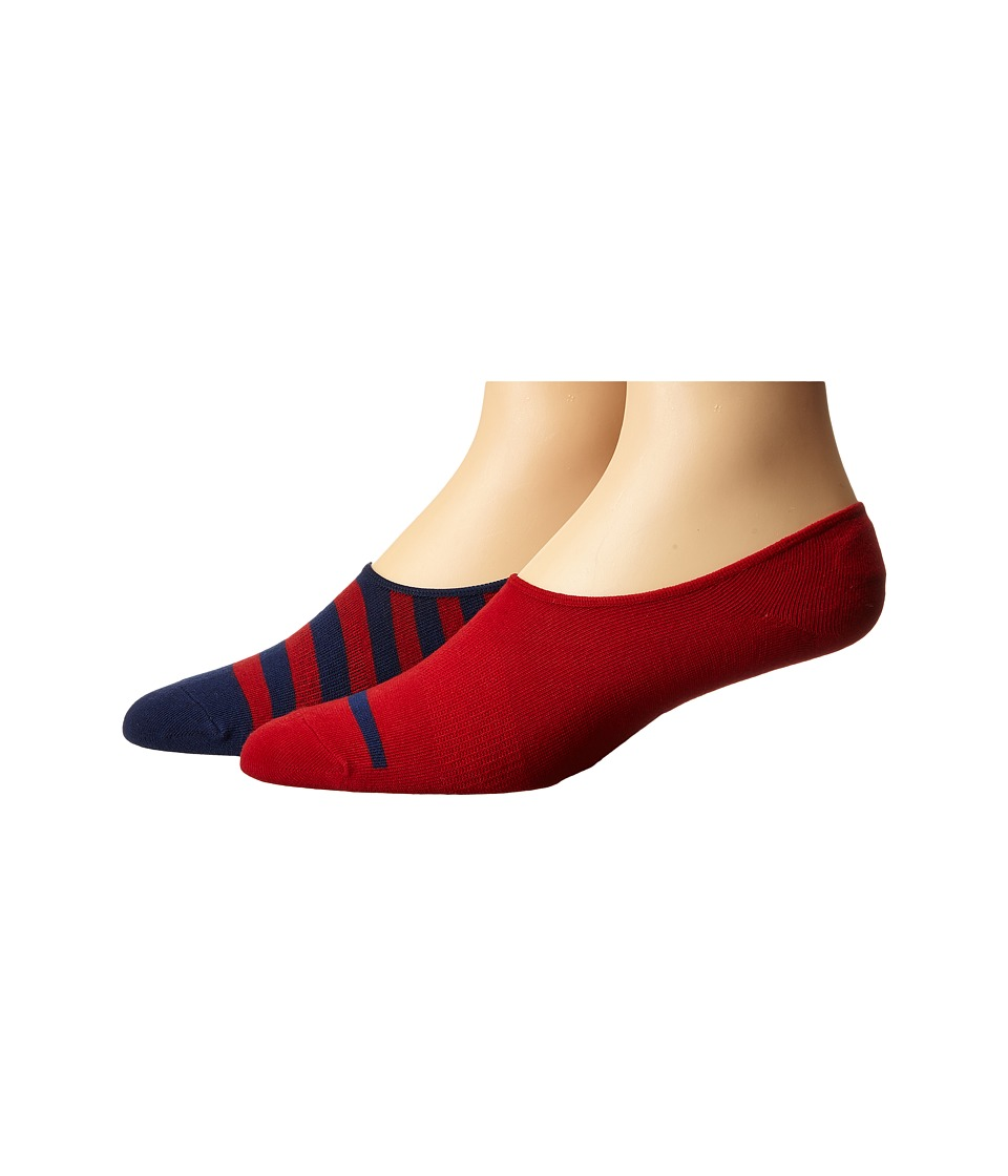 Richer Poorer - Theo No Show 2-Pack (Red/Navy) Men's No Show Socks Shoes