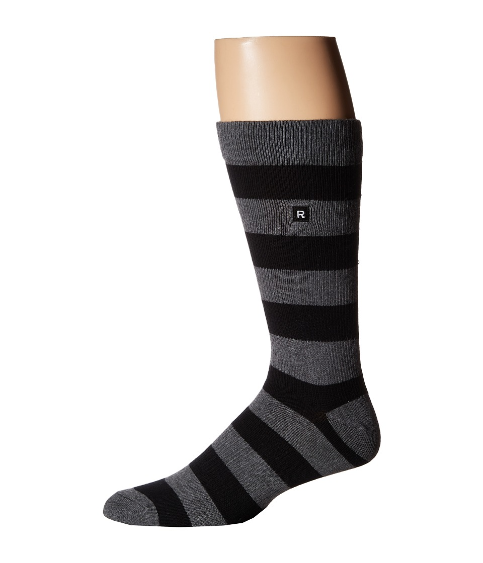 Richer Poorer - Walk On Basic Athletic (Black/Charcoal) Men's Crew Cut Socks Shoes