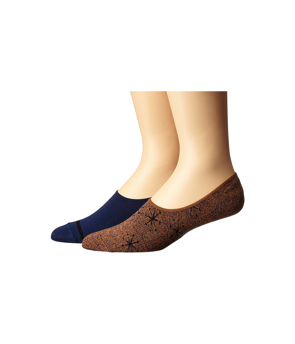 Richer Poorer - Starboard No Show 2-Pack (Orange) Men's No Show Socks Shoes