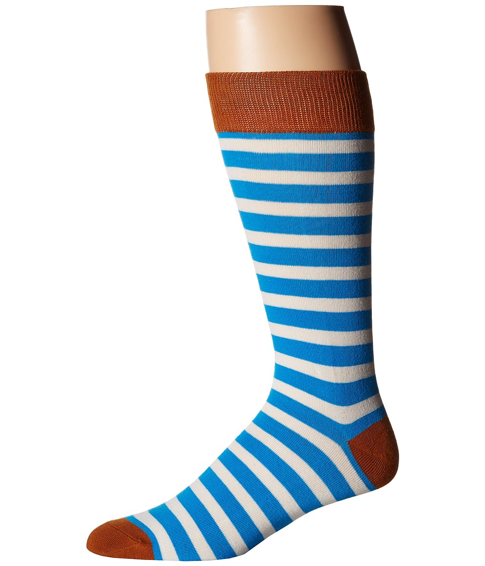 Richer Poorer - Theo (Blue/Cream) Men's Crew Cut Socks Shoes