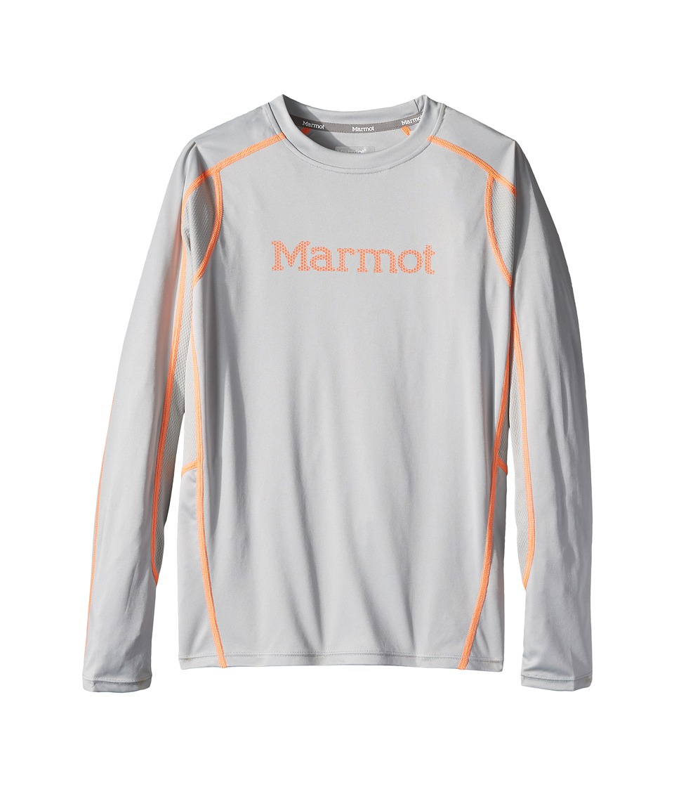 Marmot Kids - Windridge w/ Graphic Long Sleeve Top (Little Kids/Big Kids) (Bright Steel/Grey Storm) Boy's Long Sleeve Pullover
