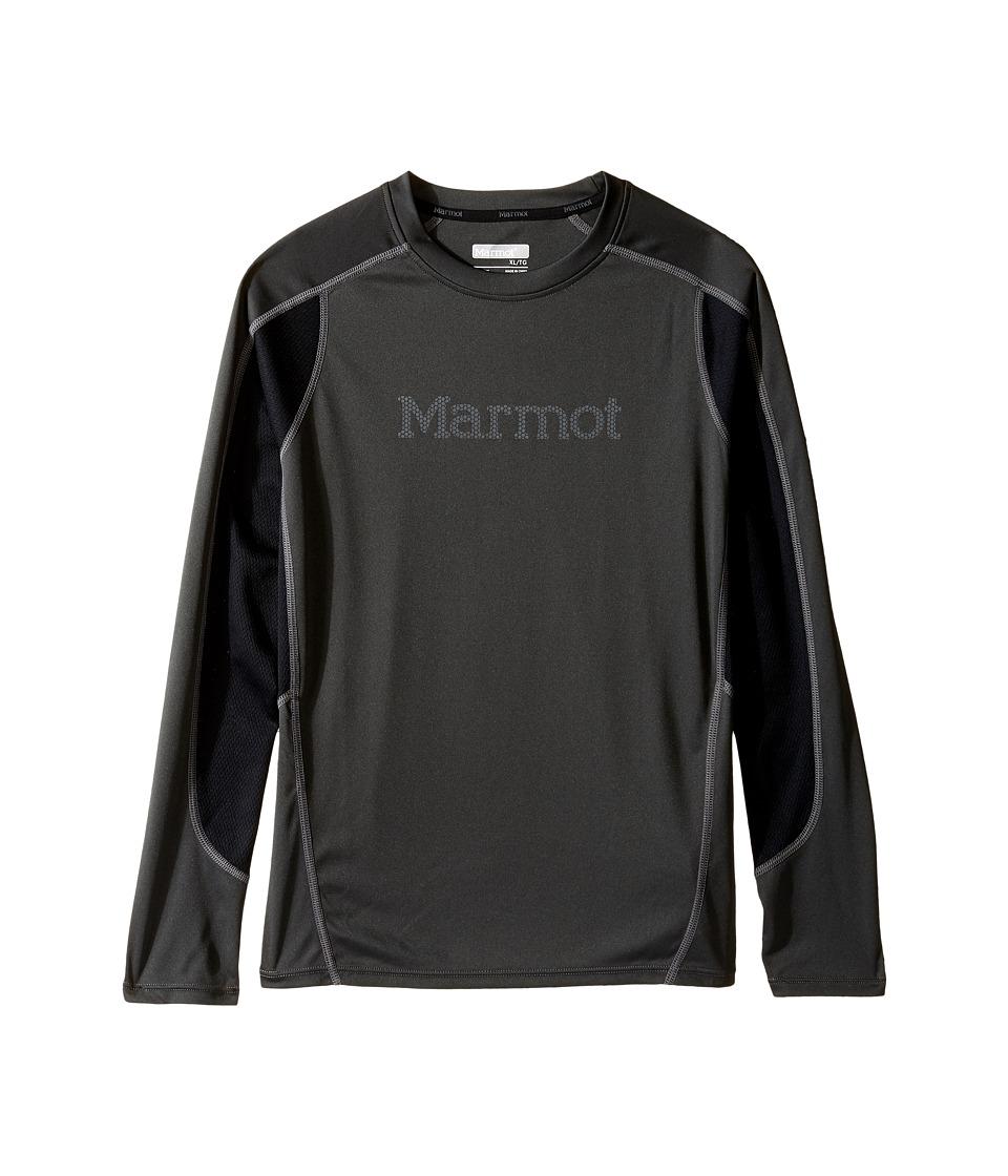 Marmot Kids - Windridge w/ Graphic Long Sleeve Top (Little Kids/Big Kids) (Slate Grey/Black) Boy's Long Sleeve Pullover