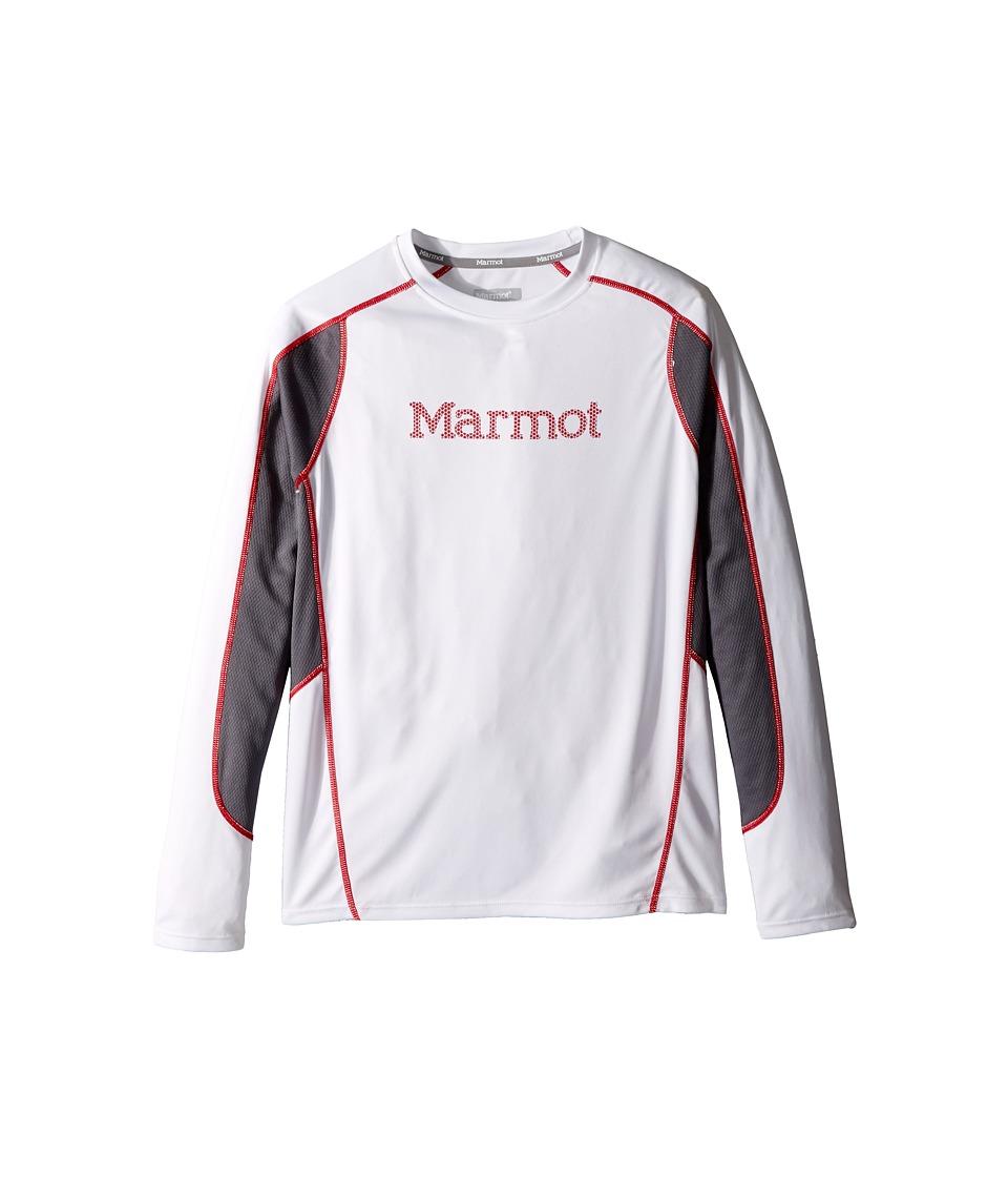 Marmot Kids - Windridge w/ Graphic Long Sleeve Top (Little Kids/Big Kids) (White/Cinder) Boy's Long Sleeve Pullover