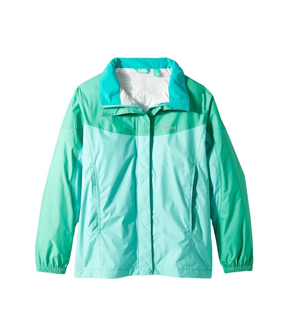 Marmot Kids - Girl's PreCip Jacket (Little Kids/Big Kids) (Celtic/Turf Green) Girl's Coat