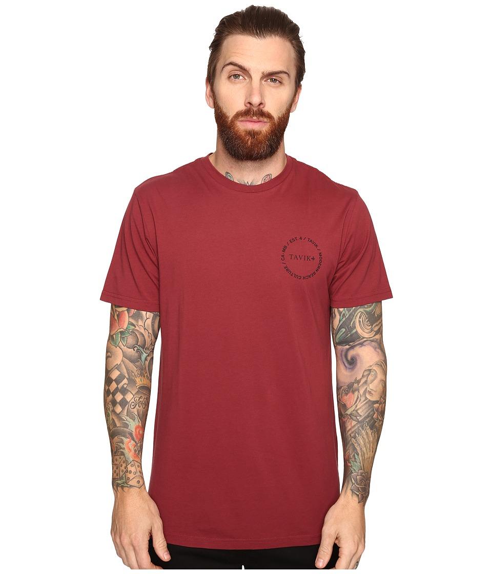 Tavik - Crew Short Sleeve Printed T-Shirt (Oxblood) Men's T Shirt