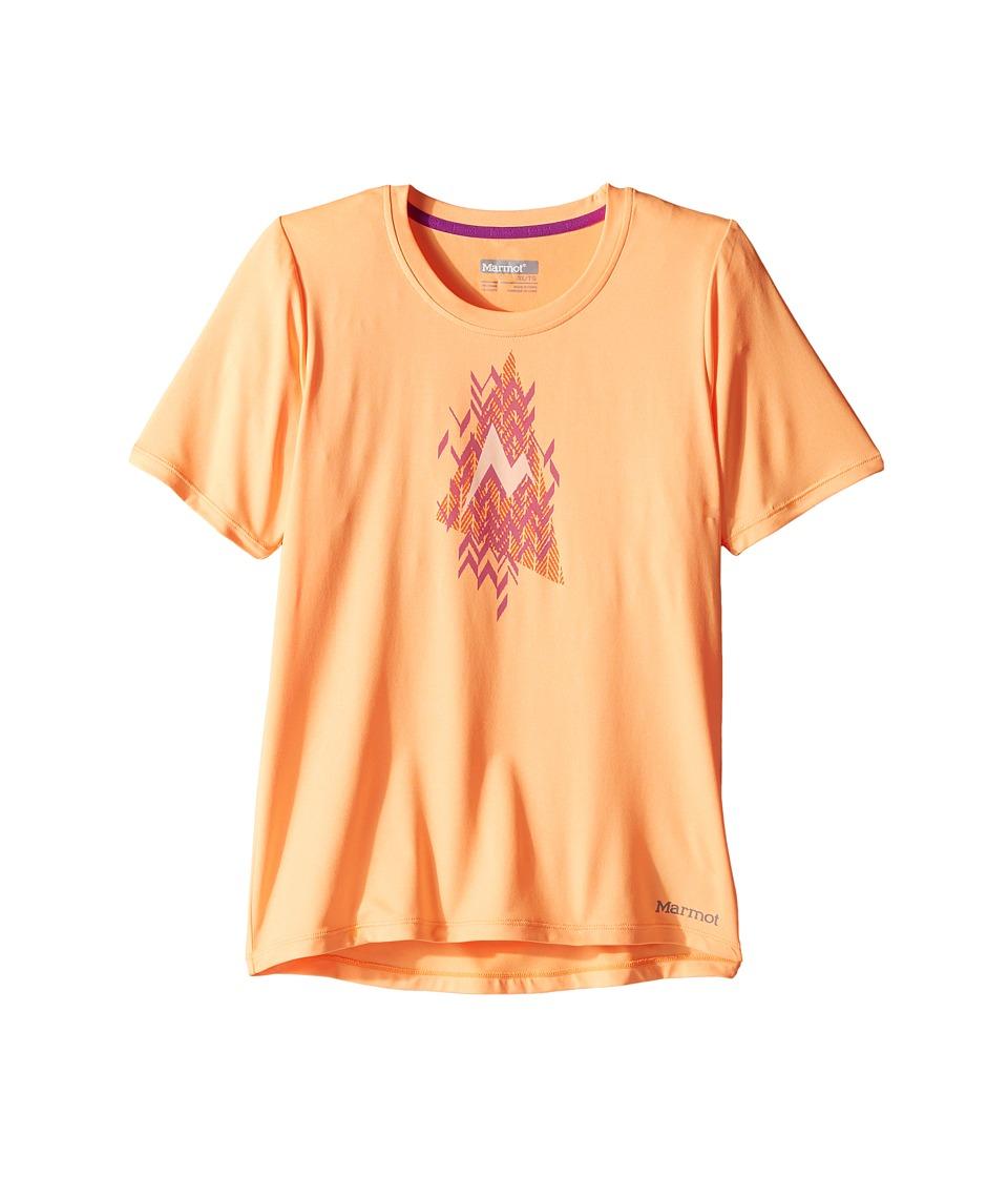 Marmot Kids - Post Time Short Sleeve Tee (Little Kids/Big Kids) (Orangesicle Heather) Girl's T Shirt