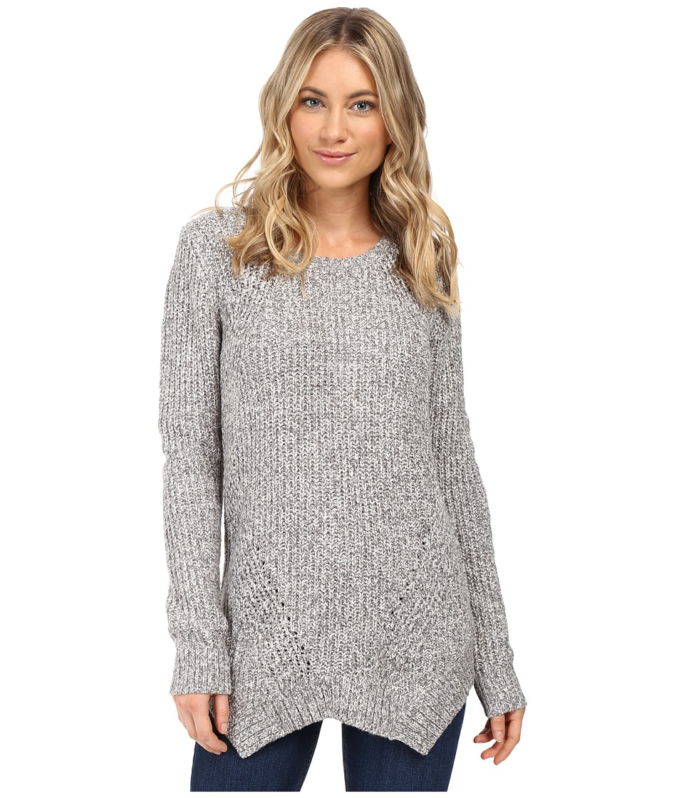 kensie - Mixed Punk Yarn Sweater with Shark Tooth Hem KS0K5459 (Titanium Combo) Women's Sweater