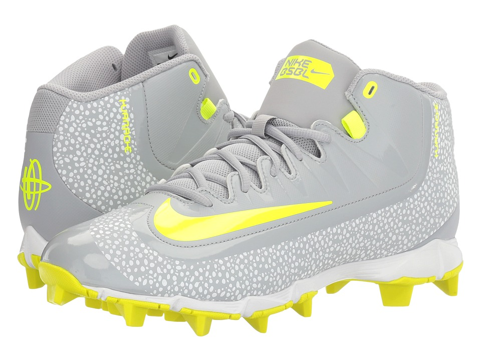 Nike - Huarache 2KFilth Keystone Mid (Wolf Grey/Volt/White) Men's Cleated Shoes