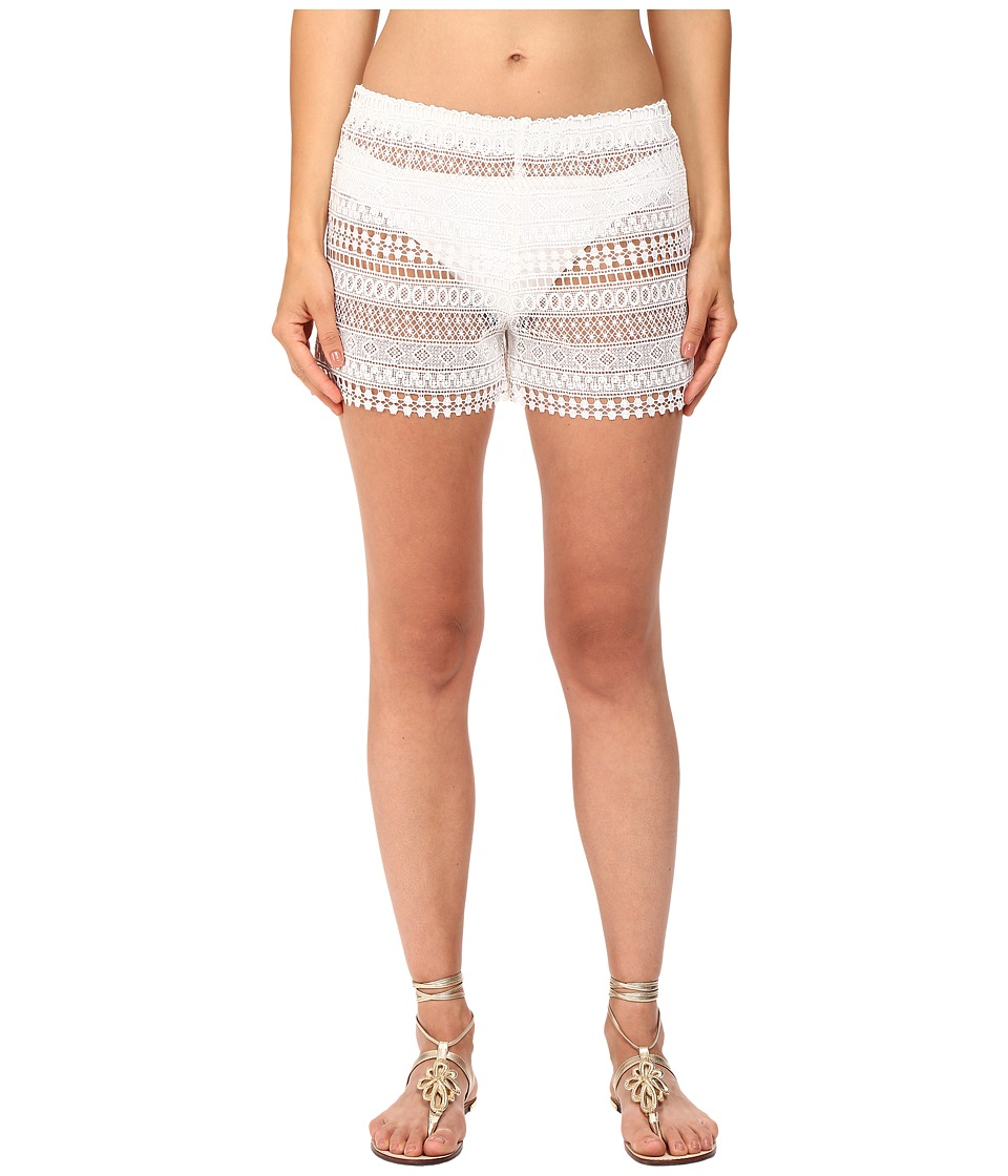 Queen & Pawn - Marathi Lace Vintage-Dyed Beach Shorts (White) Women's Swimwear