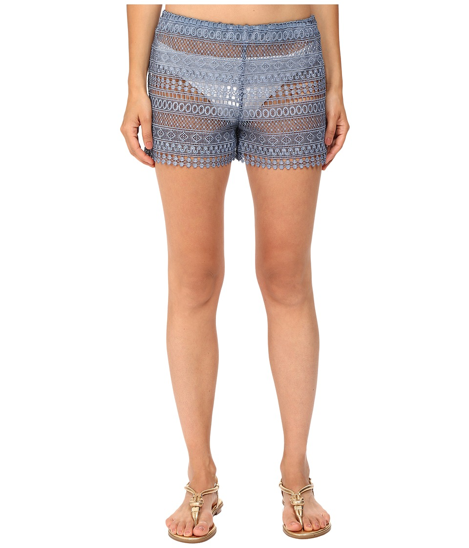 Queen & Pawn - Marathi Lace Vintage-Dyed Beach Shorts (Indigo) Women's Swimwear