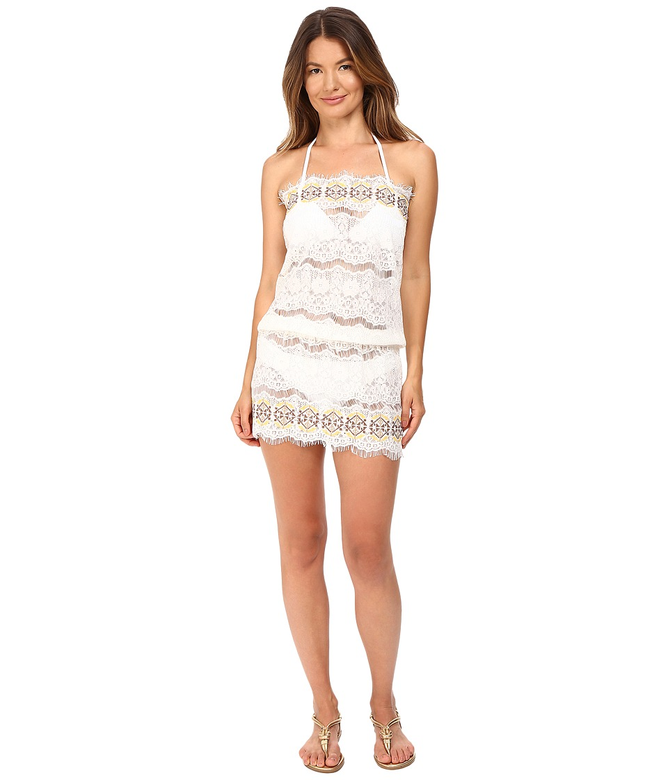 Queen & Pawn - Kea Lace Embroidered Strapless Beach Dress (White/Yellow) Women's Swimwear