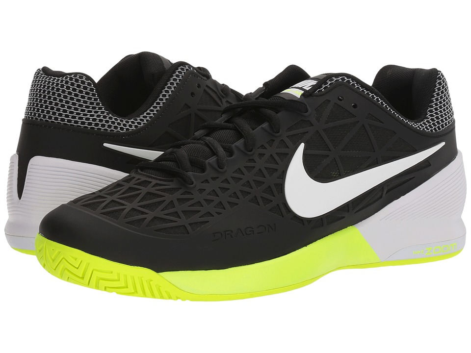 Nike - Zoom Cage 2 (Black/White/Volt) Men's Tennis Shoes