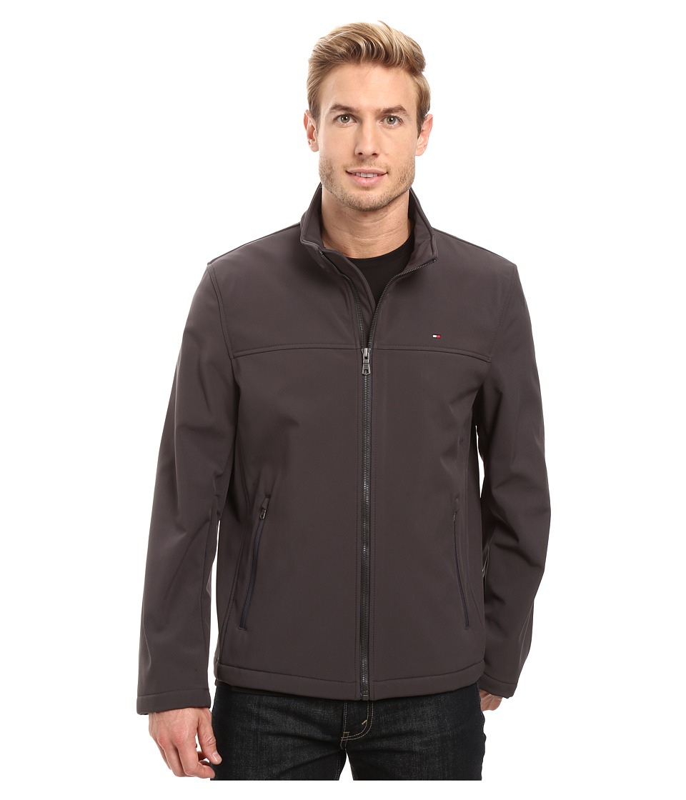 Tommy Hilfiger - Softshell Classic Zip Front Jacket (Charcoal) Men's Coat