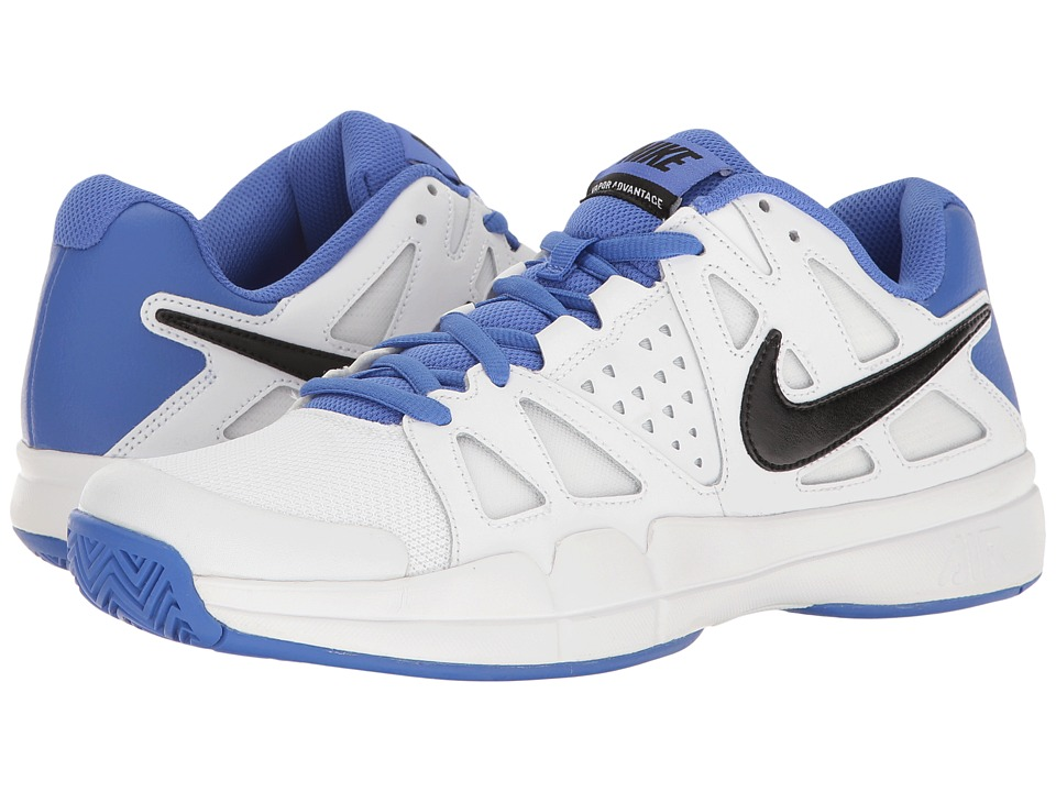 Nike - Air Vapor Advantage (White/Black/Medium Blue/Black) Men's Tennis Shoes