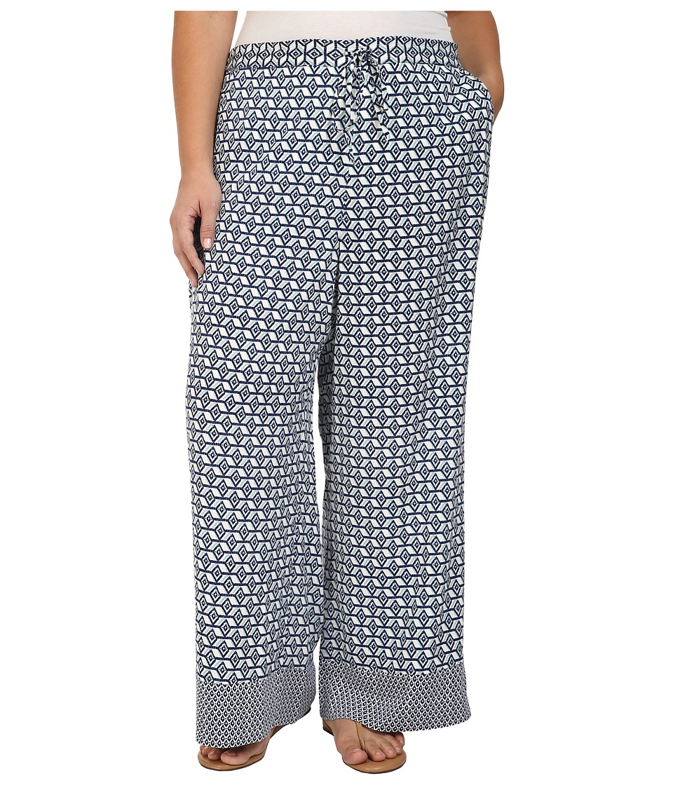NYDJ Plus Size - Plus Size Printed Palazzo Pants in Empire Geo Champion Navy (Empire Geo Champion Navy) Women's Casual Pants