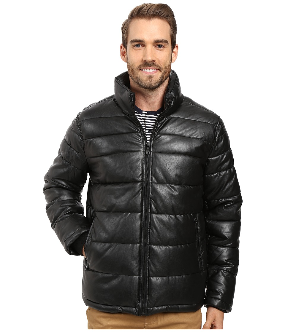 Tommy Hilfiger - Quilted Faux Leather Puffer Jacket (Black) Men's Coat