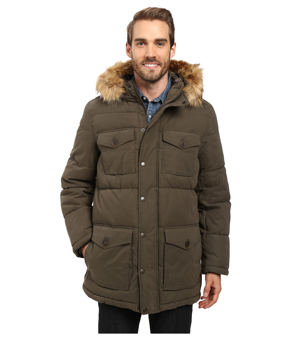 Tommy Hilfiger - Micro-Twill Four-Pocket Long Parka (Olive) Men's Coat
