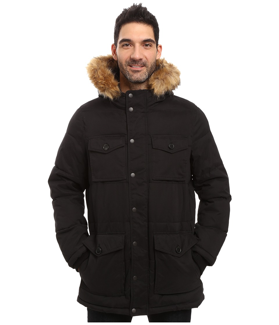 Tommy Hilfiger - Micro-Twill Four-Pocket Long Parka (Black) Men's Coat
