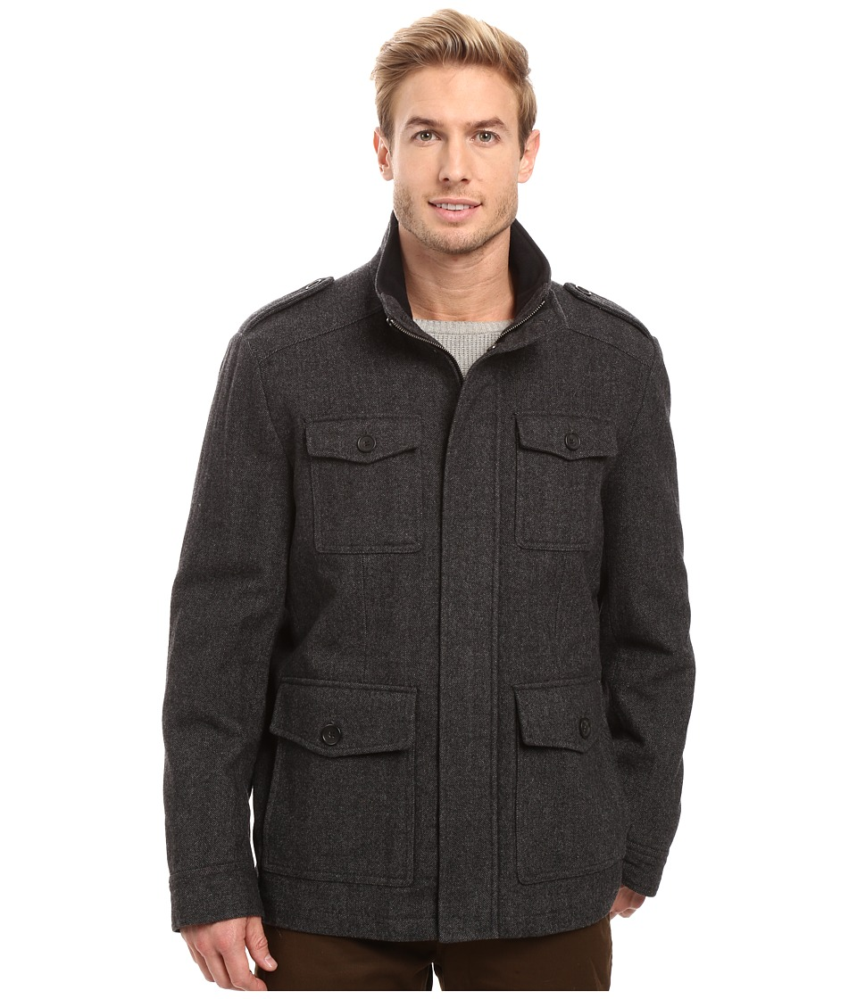 Tommy Hilfiger - Wool Melton Four-Pocket Military Coat (Herringbone) Men's Coat