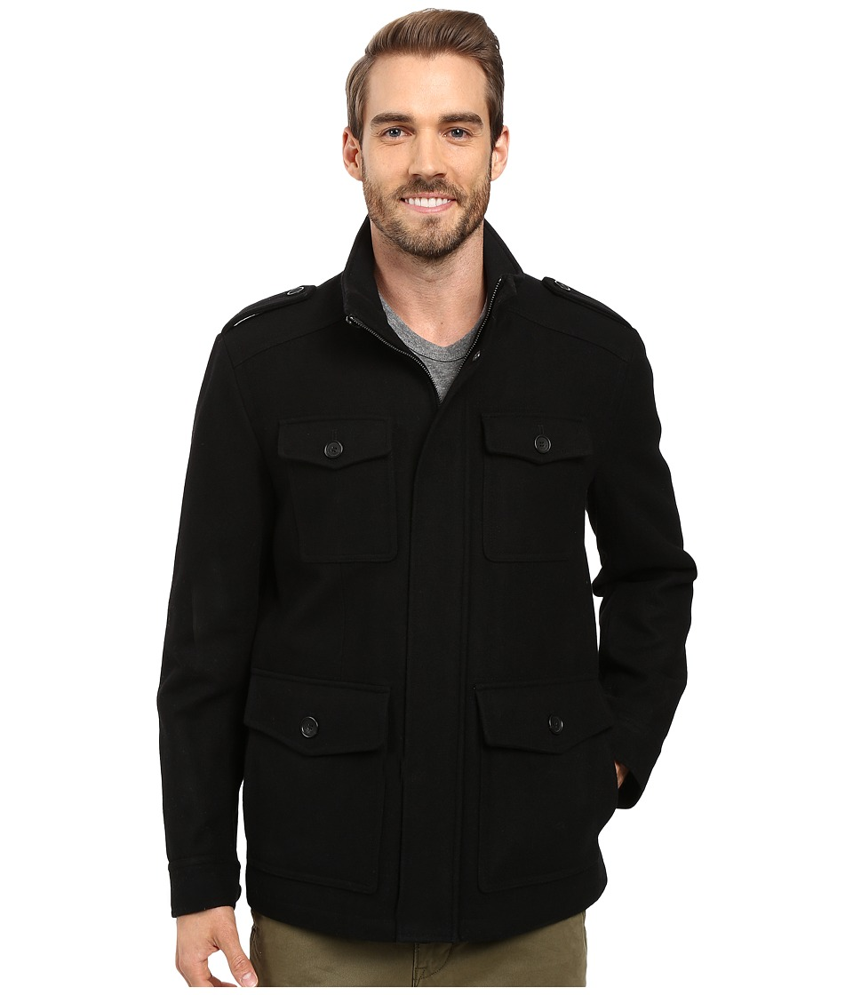 Tommy Hilfiger - Wool Melton Four-Pocket Military Coat (Black) Men's Coat