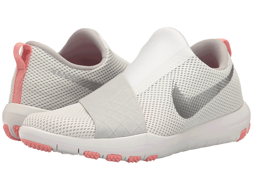 Nike - Free Connect (White/Metallic Silver/Wolf Grey/Bright Melon) Women's Slip on Shoes