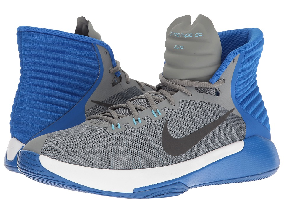 Nike - Prime Hype DF 2016 (Cool Grey/Anthracite/Hyper Cobalt/White) Men's Basketball Shoes