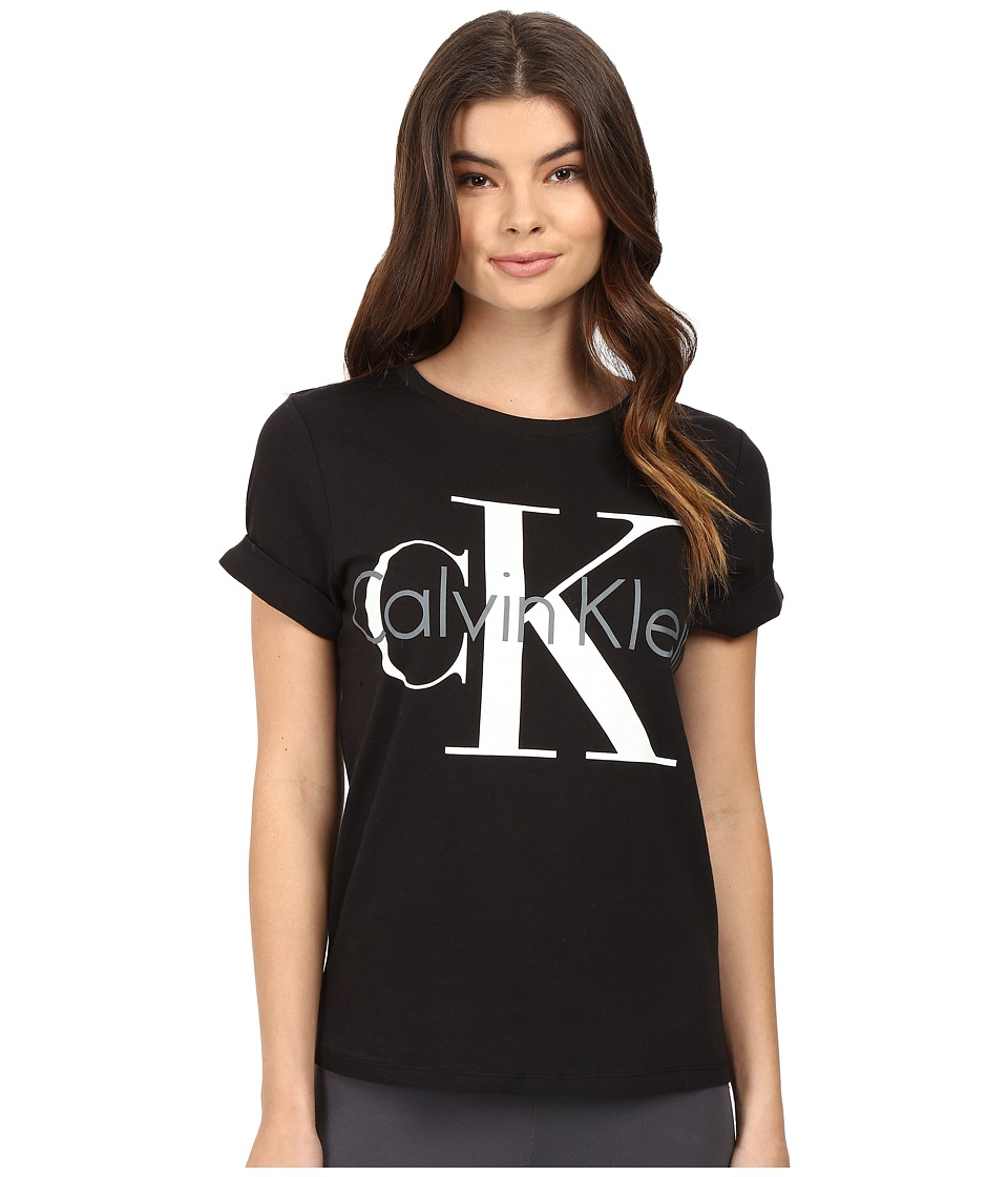 Calvin Klein Underwear - Retro Short Sleeve Crew Neck Top (Black) Women's Pajama
