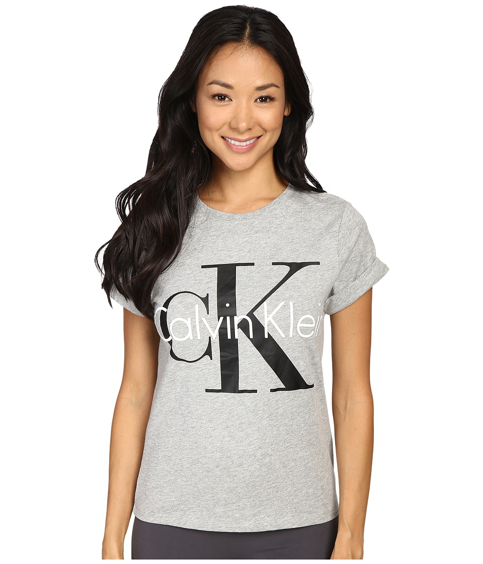 Calvin Klein Underwear - Retro Short Sleeve Crew Neck Top (Grey Heather) Women's Pajama