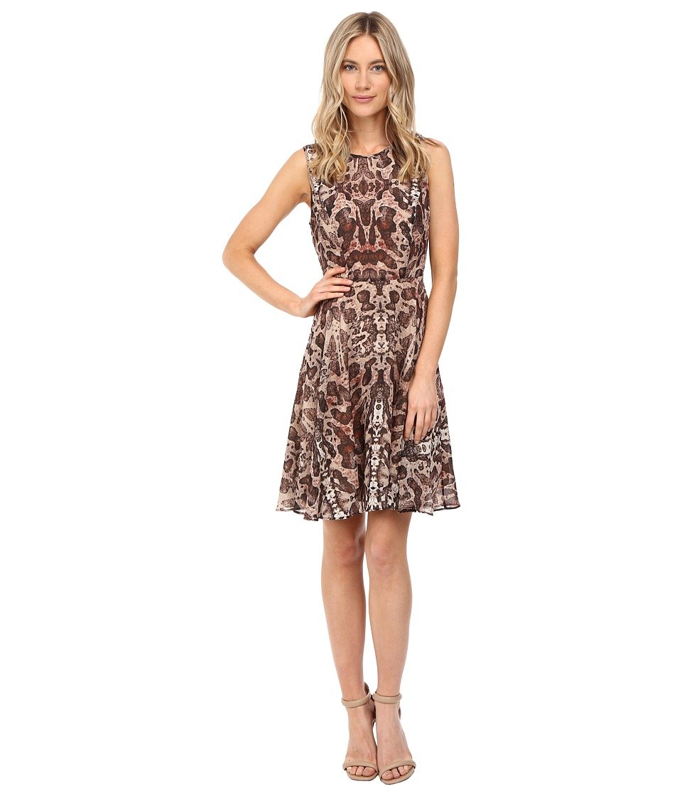 CATHERINE Catherine Malandrino Printed Sleeveless Georgette Pleat Dress (Moth Wing) Women