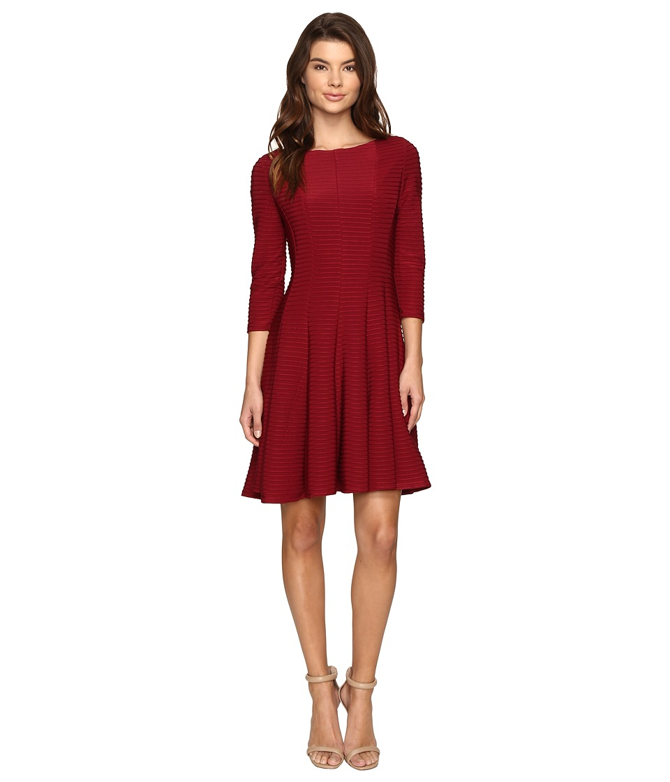 Christin Michaels Andrea 3/4 Sleeve Fit and Flare Dress (Garnet) Women