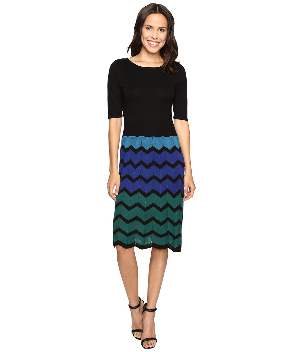 Christin Michaels Juleen Chevron Sweater Dress (Black/Blue) Women