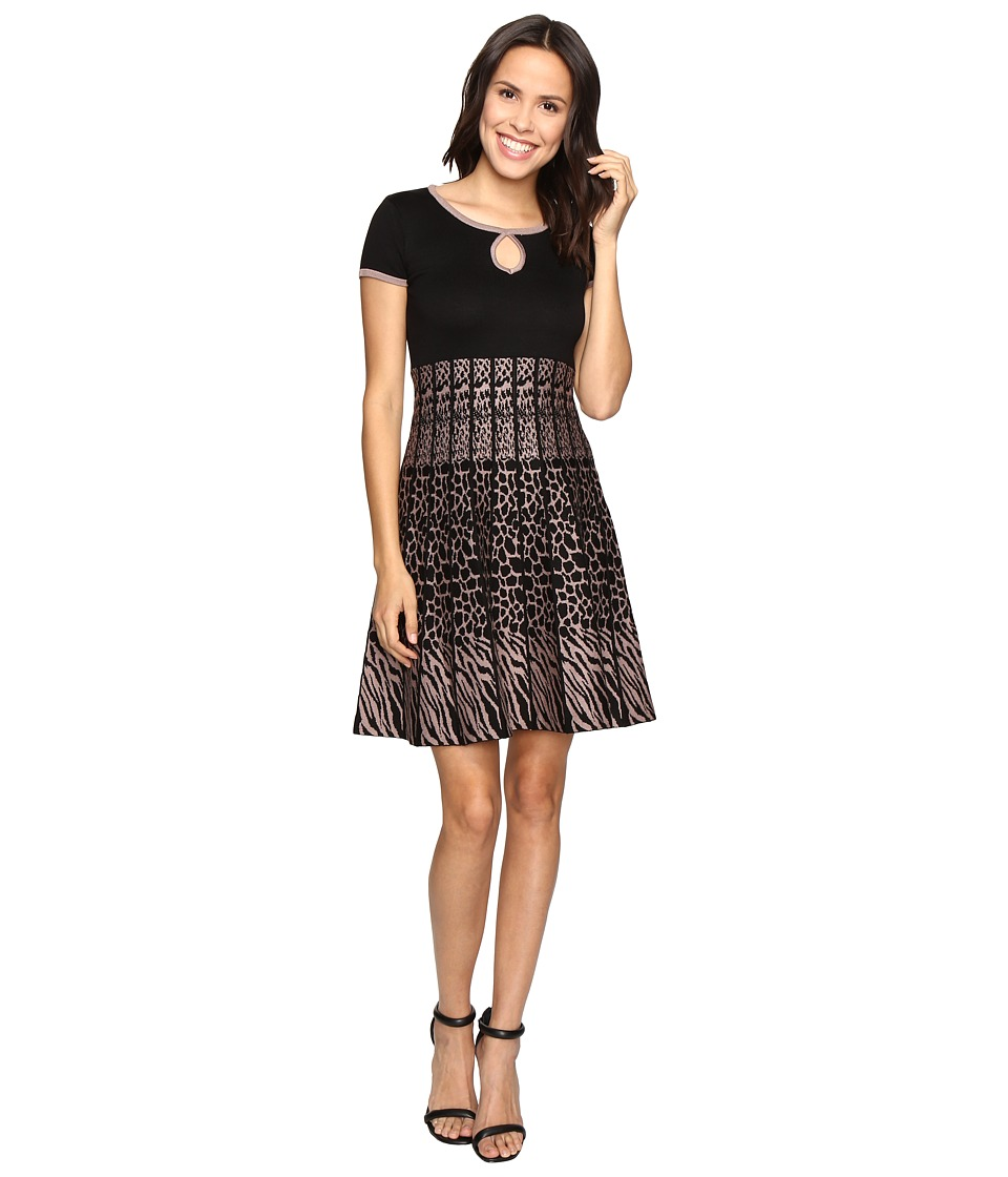 Christin Michaels - Saida Short Sleeve Sweater Dress with Keyhole (Black/Tan) Women's Dress