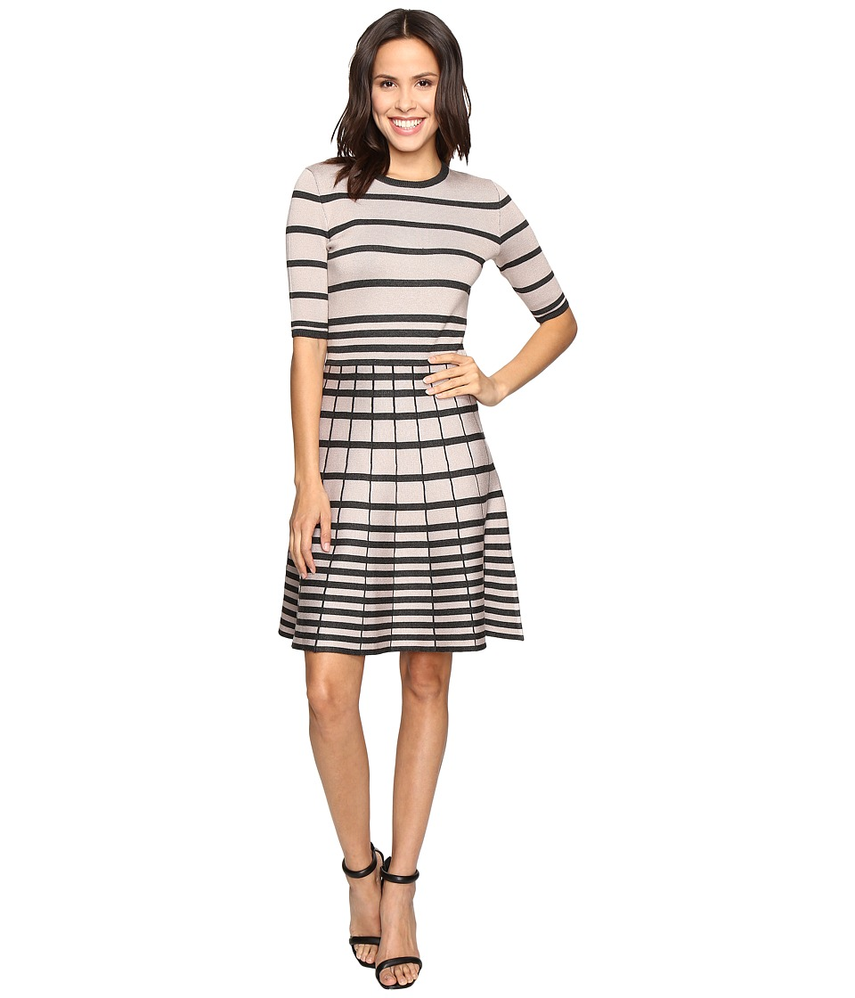 Christin Michaels - Namana Striped Fit and Flare Dress (Taupe/Black) Women's Dress