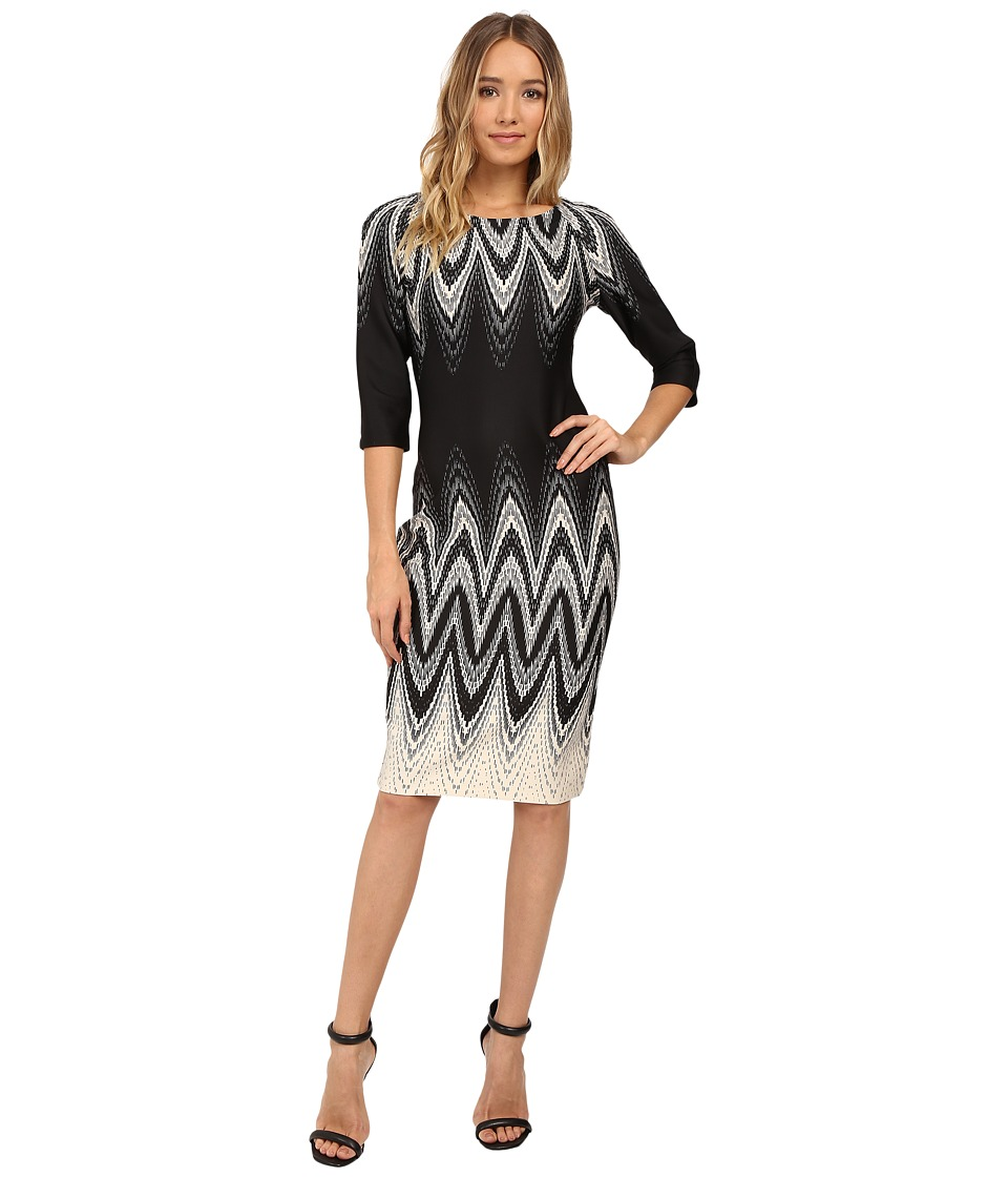 Christin Michaels - Elodey Chevron Border Bodycon Midi Dress (Beige/Black) Women's Dress