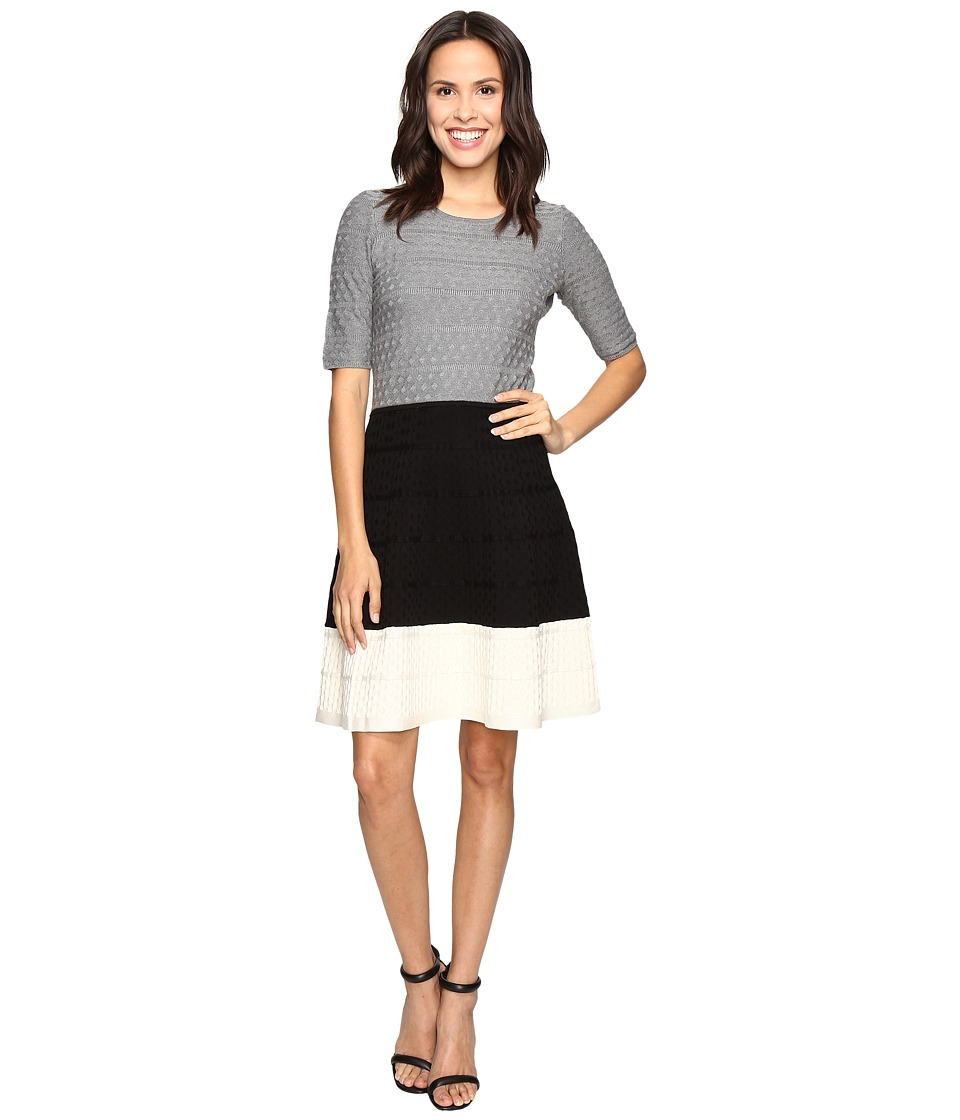 Christin Michaels Kaira Color Block Fit and Flare Sweater Dress (Grey/Black/White) Women